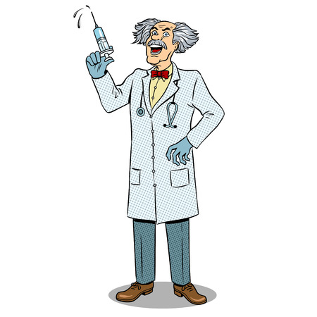 Mad crazy doctor with syringe in his hand pop art retro vector illustration. Isolated image on white background. Comic book style imitation.