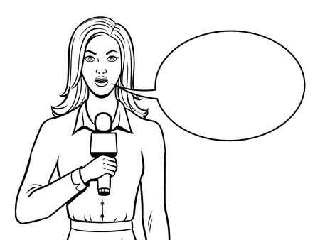 Journalist rapporteert met microfoon kleuren vectorillustratie. Geïsoleerd beeld op witte achtergrond. Imitatie van een stripboek.