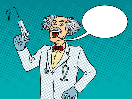 Mad crazy doctor with syringe in his hand pop art retro vector illustration. Text bubble. Color background. Comic book style imitation. Illustration