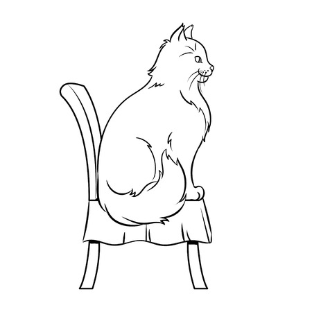Female cat sits on chair coloring book vector