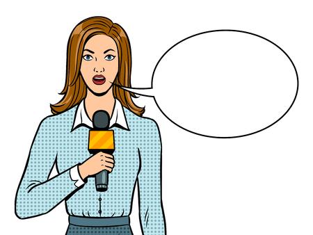 Journalist rapporteert met microfoon popart retro vectorillustratie. Tekstballon. Geïsoleerd beeld op witte achtergrond. Imitatie van een stripboek. Stock Illustratie