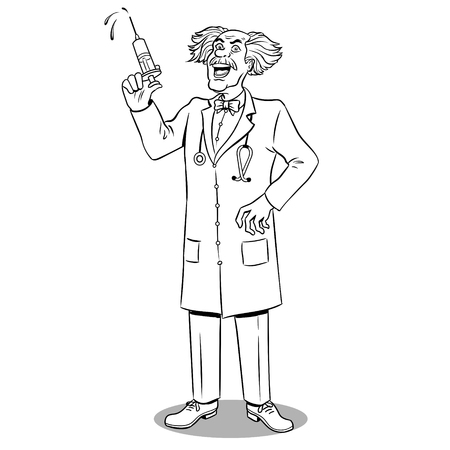Mad doctor with syringe coloring book vector Illustration
