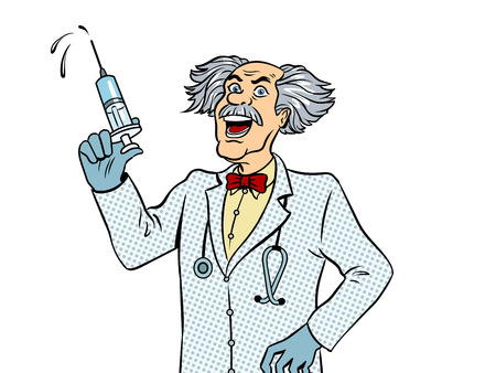 注射器ポップアートベクターを持つ狂った医者。