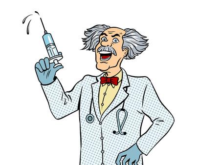 Gekke arts met de vector van het spuitpop-art.