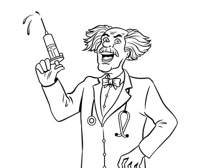 Mad doctor with syringe coloring book vector.