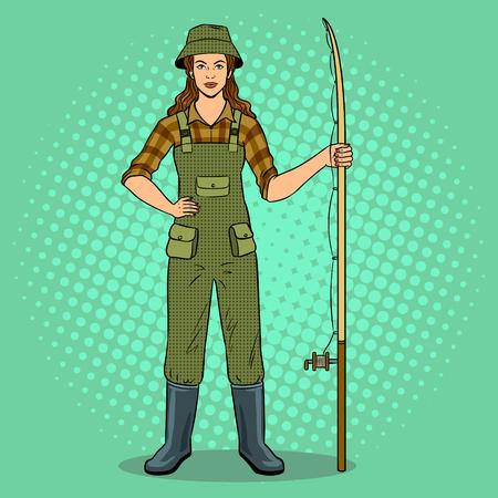 Fisherman girl pop art vector illustration.