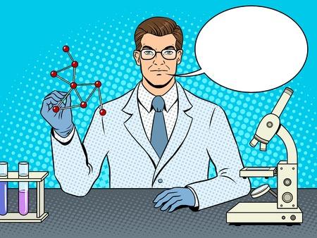 Medical chemist scientist pop art vector.