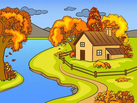 秋の風景ポップアートレトロなベクトルイラスト。色の背景。コミックブックスタイルの模倣。
