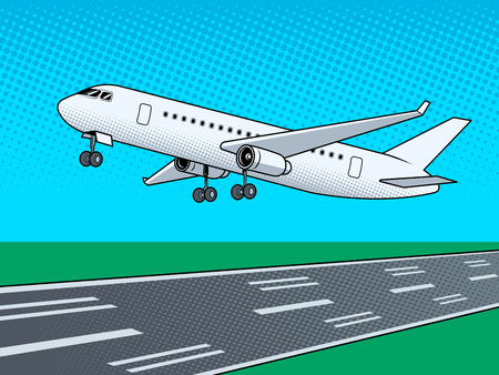 Airplane landing pop art vector illustration.