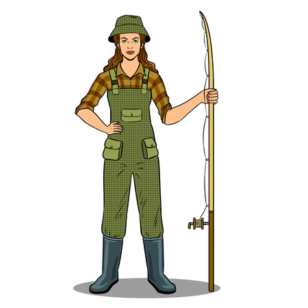 Fisherman girl pop art retro vector illustration. Isolated image on white background. Comic book style imitation.
