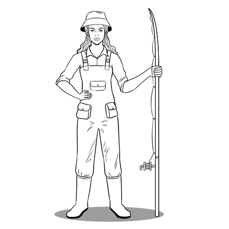 Fisherman girl coloring vector illustration. Isolated image on white background. Comic book style imitation.