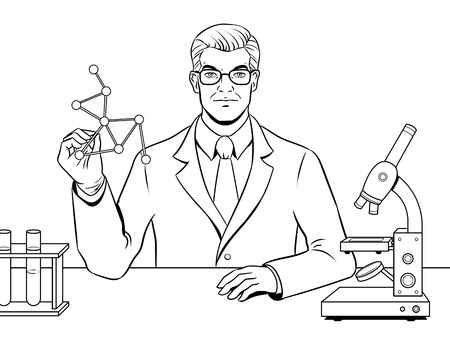 Medical chemist scientist coloring book vector