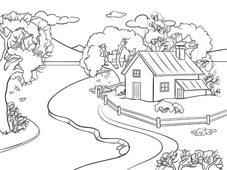 Paysage d'automne, illustration vectorielle à colorier. Image isolée sur fond blanc. Imitation de style bande dessinée. Banque d'images - 94452861