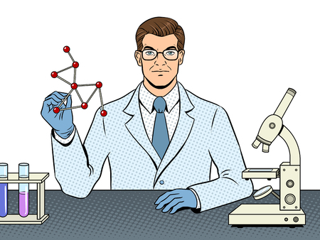 Medical chemist scientist pop art vector