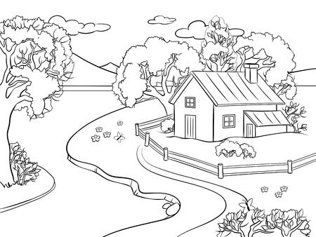 Estilo de quadrinhos de paisagem de verão