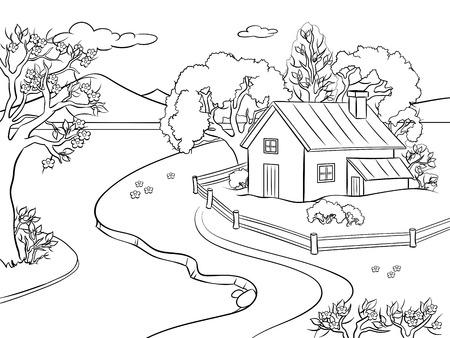 Paysage de printemps à colorier illustration vectorielle. Image isolée sur fond blanc. Imitation de style bande dessinée. Vecteurs