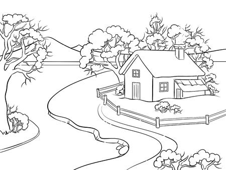 Paysage d'hiver à colorier illustration vectorielle. Image isolée sur fond blanc. Imitation de style bande dessinée.
