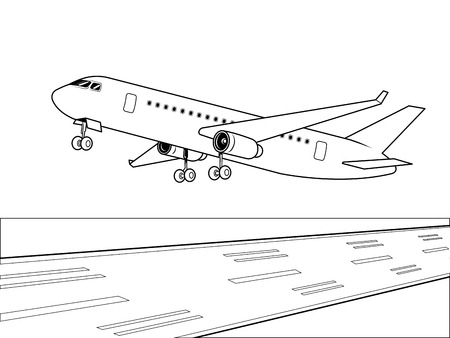 Airplane landing coloring vector illustration. Isolated image on white background. Comic book style imitation. Stock Illustratie