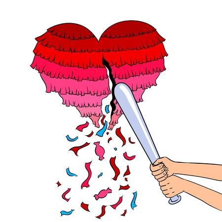 Pinata heart metaphor pop art retro vector illustration. Isolated image on white background. Comic book style imitation.