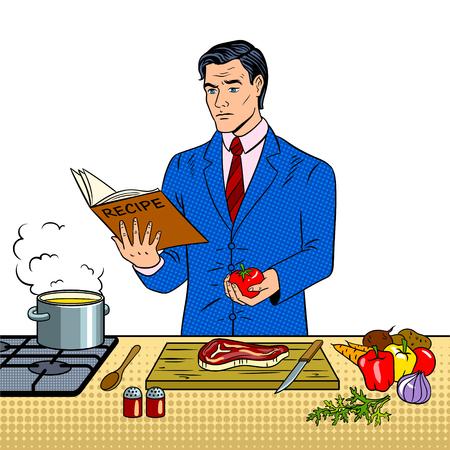 Man in business suit cooking food pop art vector