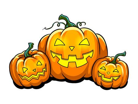 Halloween pumpkin pop art vector illustration Ilustração