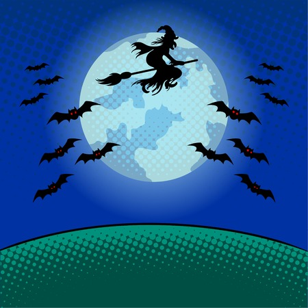 Witch flying on broomstick pop art vector