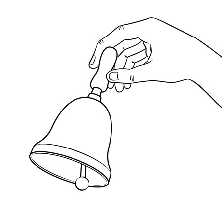 Hand ring bell coloring book vector