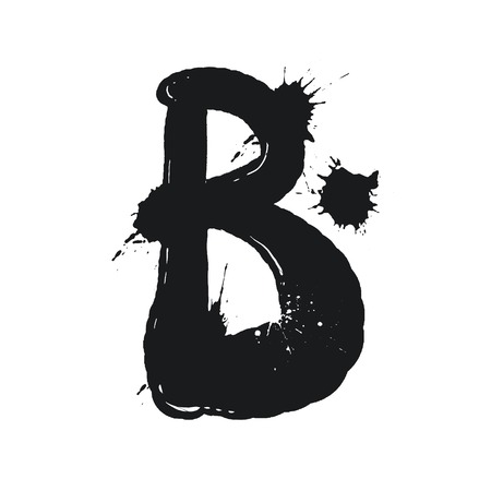 Blot letter B black and white vector illustration