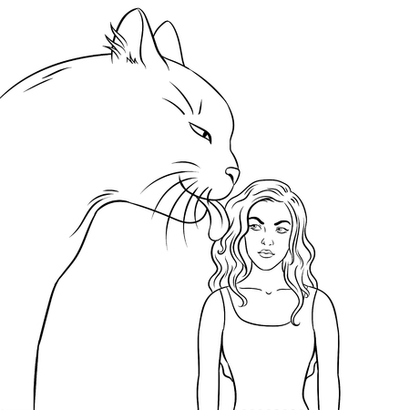 Cat licks the girl coloring vector illustration. Isolated image on white background. Comic book style imitation.