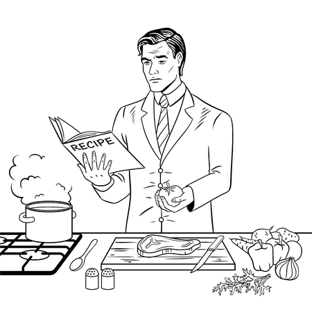 Homme d'affaires, cuisson des aliments, illustration vectorielle à colorier à colorier. Image isolée sur l'imitation de style bande dessinée fond blanc. Banque d'images - 94611894