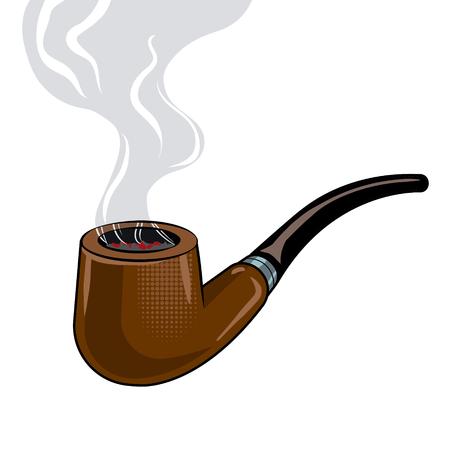 Smoking pipe pop art vector illustration