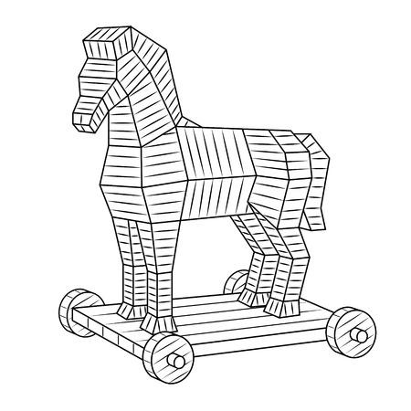 Trojan horse coloring book vector Vettoriali