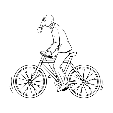 Cycling with bad ecology coloring book vector Illustration