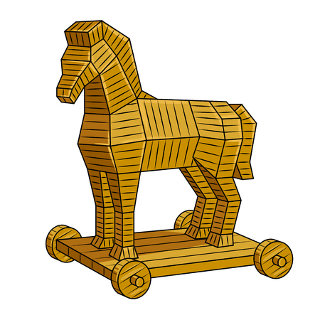 Trojan horse pop art vector illustration