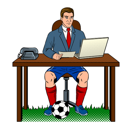 Businessman soccer pop art vector illustration