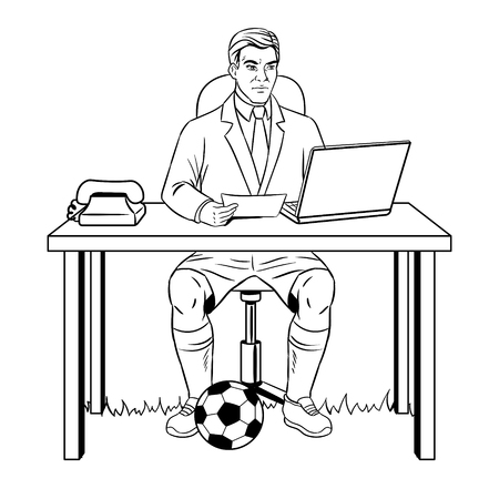 Businessman soccer coloring book vector