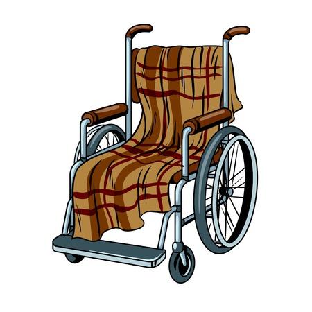 Wheelchair with plaid pop art vector