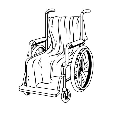 Wheelchair with plaid coloring book vector