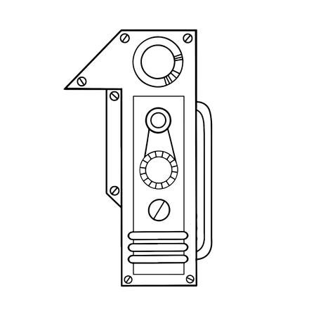 Mechanische Nummer 1 Gravur Abbildung Standard-Bild - 94941612
