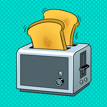 Toaster with toasts pop art retro vector illustration. Color background. Comic book style imitation. Stock Illustratie