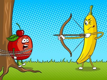 Bananenbogen- und Apfelpop-Art-Vektorillustration