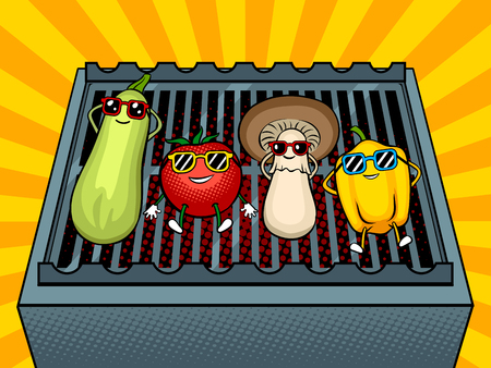 Vegetables on bbq pop art vector illustration
