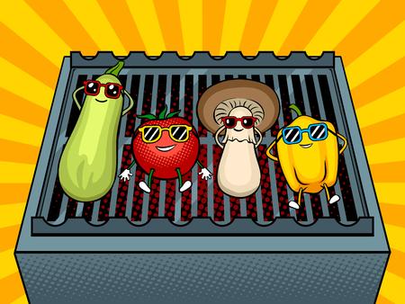 Vegetables on bbq pop art vector illustration