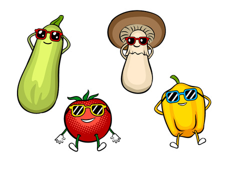 Vegetables sunbath pop art vector illustration