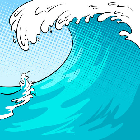 Water wave background pop art vector illustration