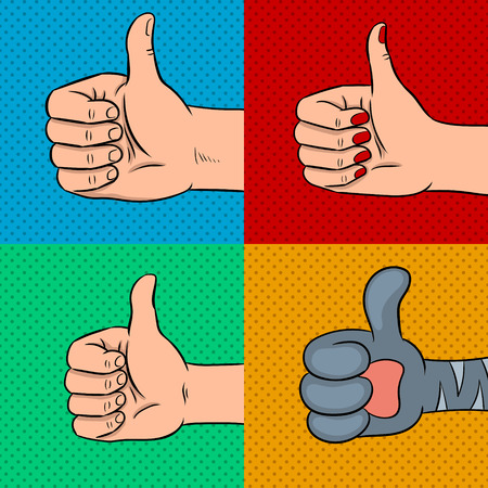 Family thumbs up pop art vector illustration