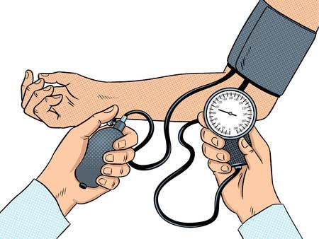 Measurement of human pressure pop art vector