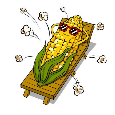 Corn tans on beach pop art vector illustration Illustration