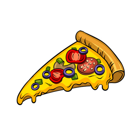Tranche d'illustration vectorielle de pizza pop art