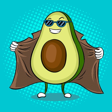 Avocado exhibitionist in raincoat pop art vector Illustration